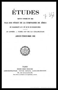 Revue Etudes, publication de la Compagnie de Jésus. Numéro de janvier-mars 1905 qui comporte la critique de l'Abbé Bouvier sur l'ouvrage de Paul Viollet
