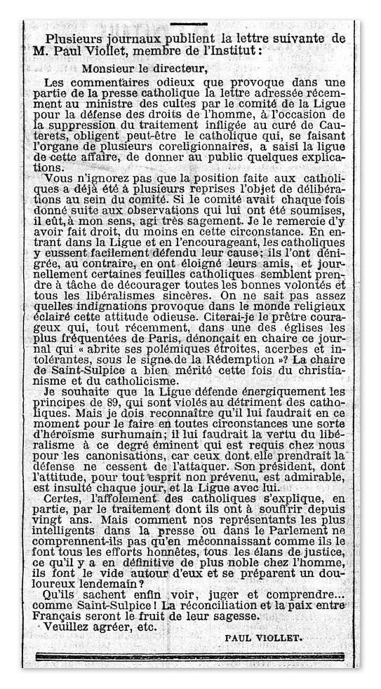 Lettre de Paul Viollet prenant la défense de la Ligue des Droits de l'homme, publiée dans le journal Le Temps du 23 novembre 1898