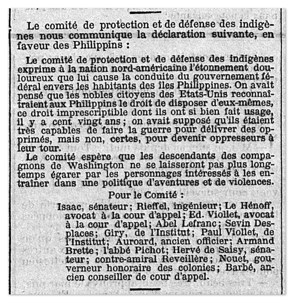 Déclaration du CPDI en faveur des Phillipines, journal Le Temps 24 juin 1899