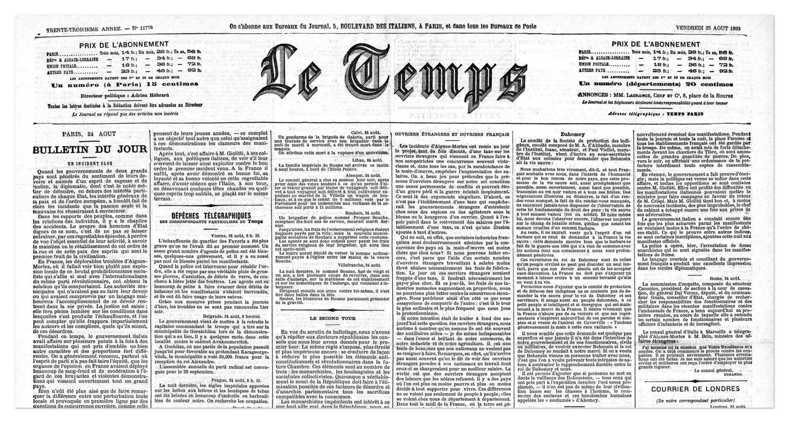 Lettre de la Société de protection des indigènes sur la situation au Dahomey, journal Le Temps du 25 août 1893