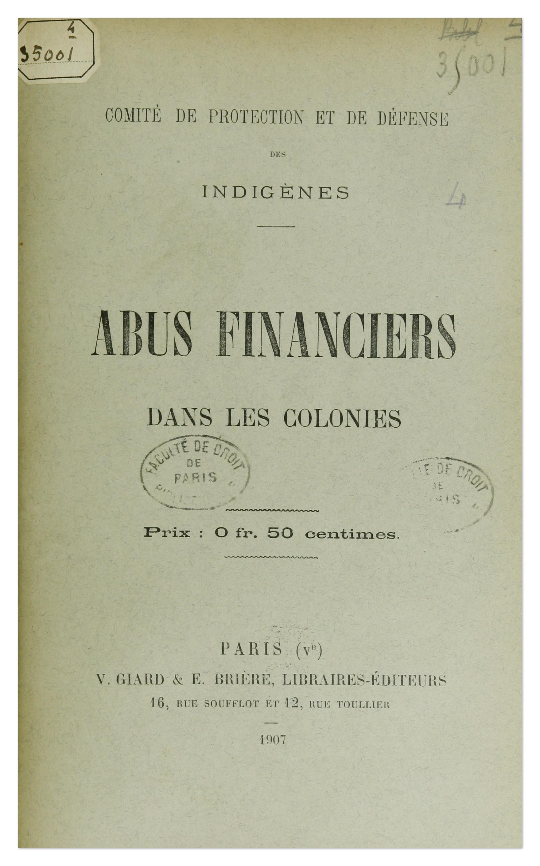 Couverture de la brochure du Comité de protection et de défense des indigènes sur les abus financiers dans les colonies