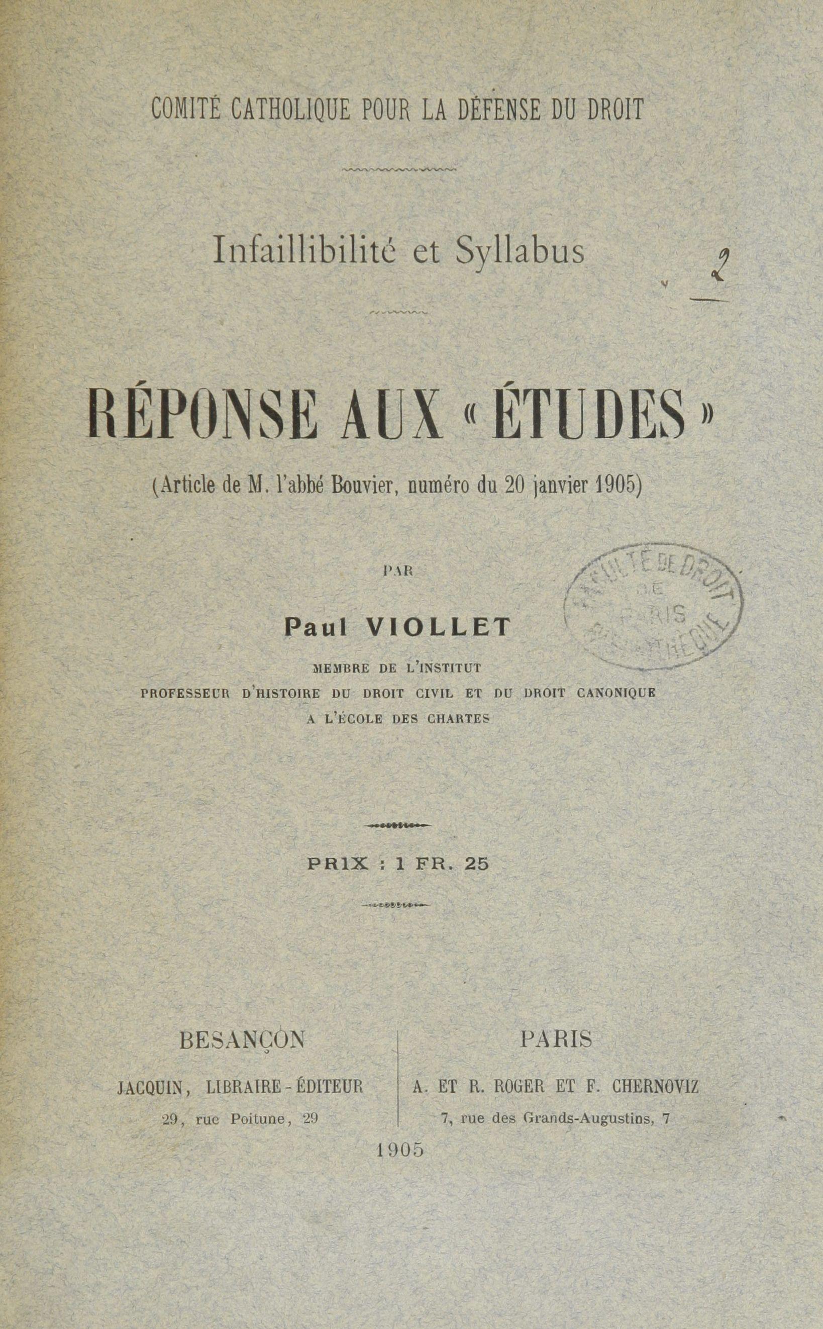 Réponse de Paul Viollet à la critique de l'Abbé Bouvier