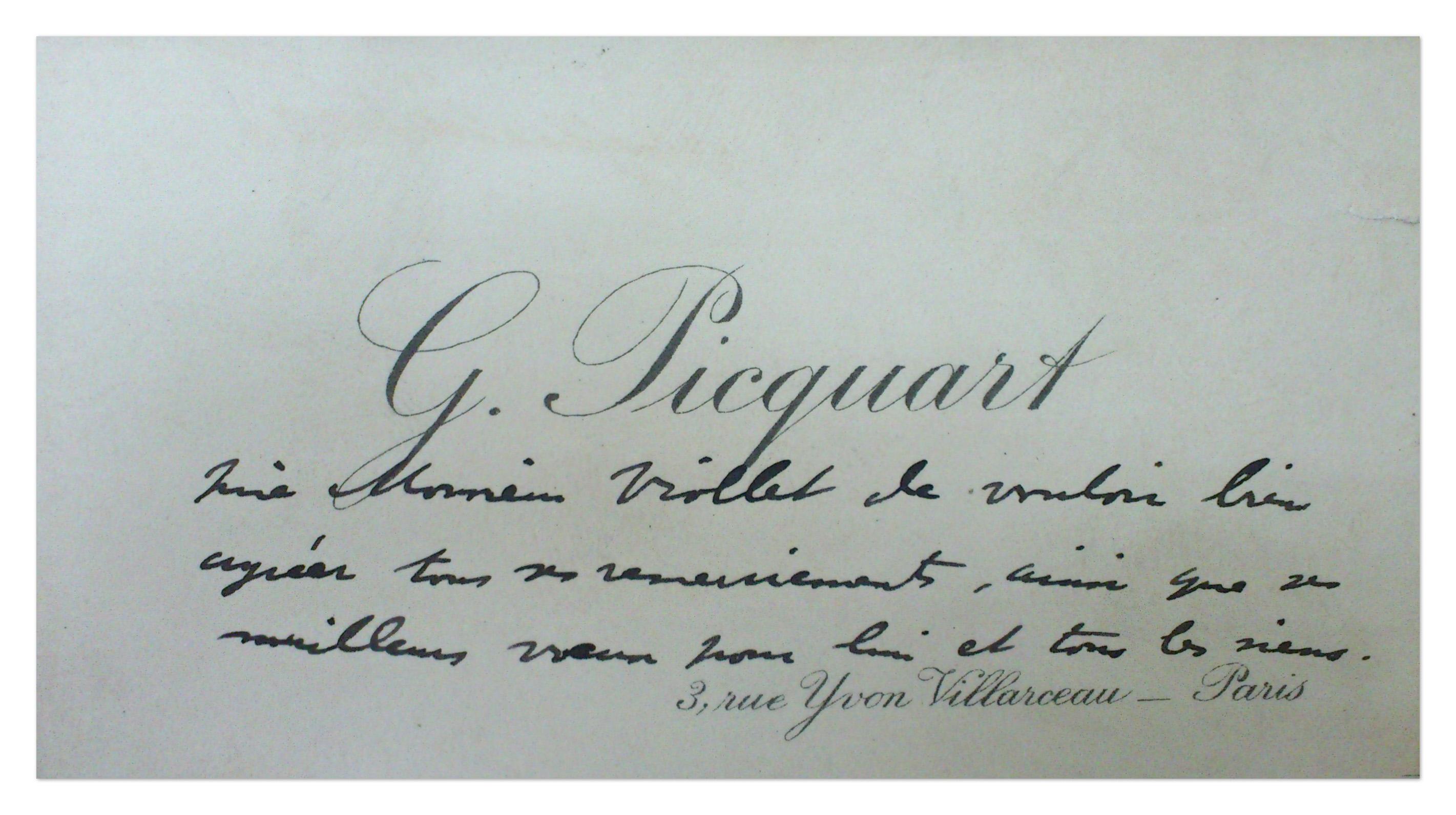 Carte de remerciement et de voeux du colonel Picquart à Paul Viollet