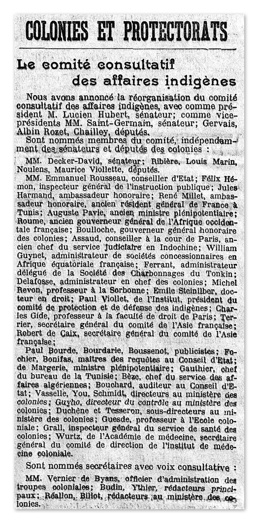 Article mentionnant la nomination de Paul Viollet comme membre du Comité consultatif des affaires indigènes, dans le journal Le Temps du 23 mai 1913