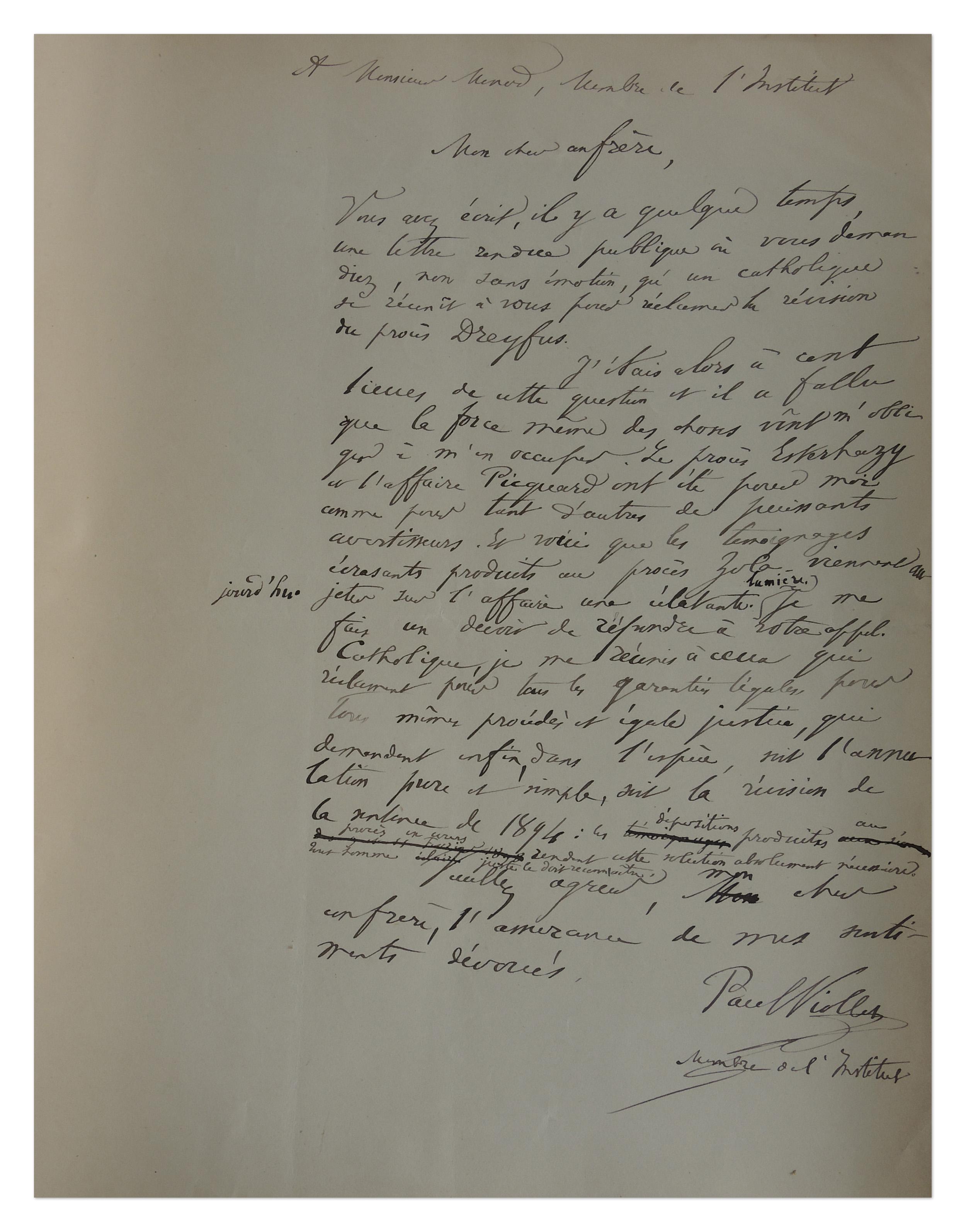 Brouillon de lettre de Paul Viollet à Gabriel Monod