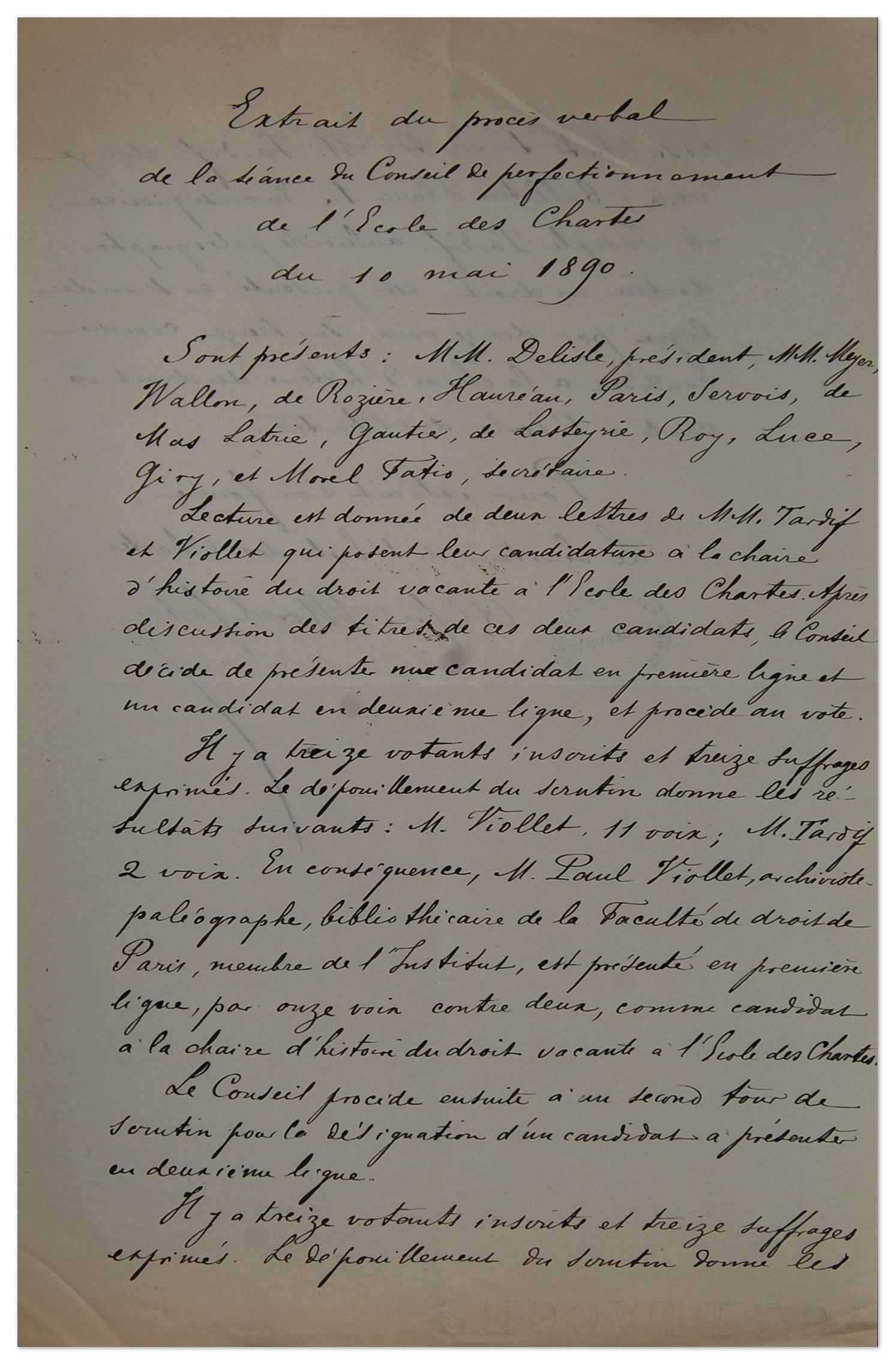 Election de Paul Viollet à la chaire d'histoire du droit civil et de droit canonique, extrait du procès-verbal