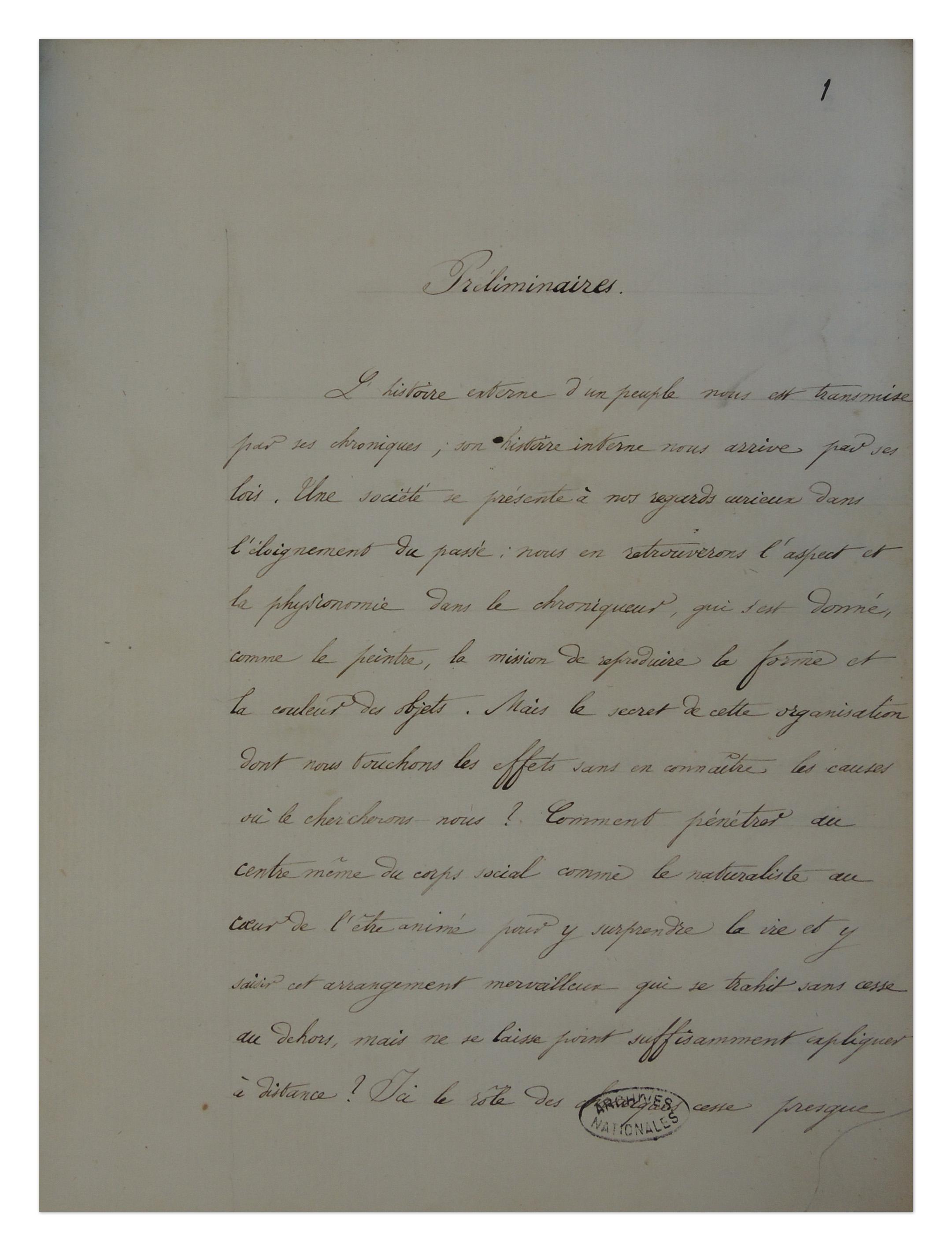 Première page des préliminaires de la thèse de l'Ecole des chartes de Paul Viollet