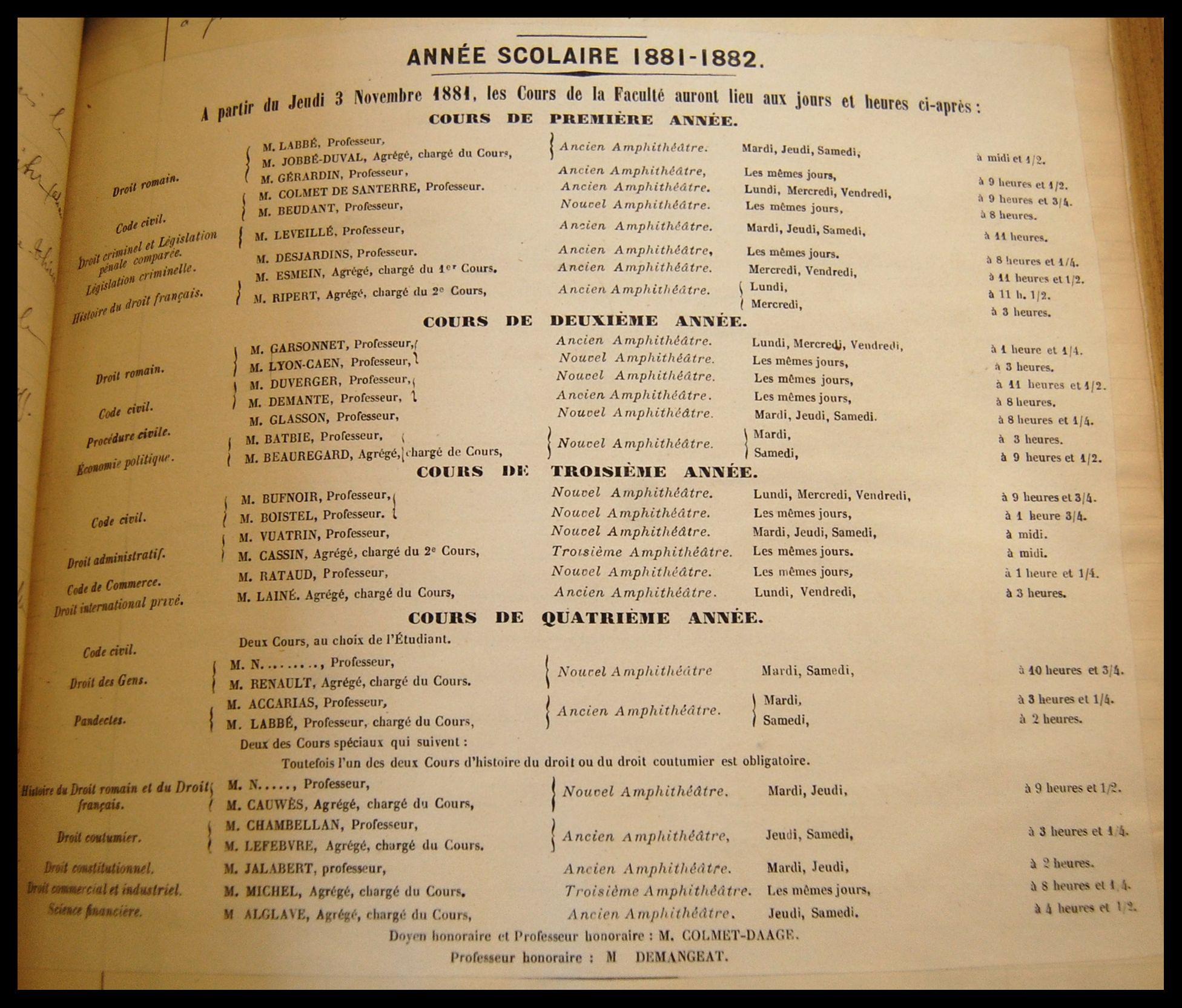Liste des cours de la Faculté de droit de Paris pour l'année 1881-1882