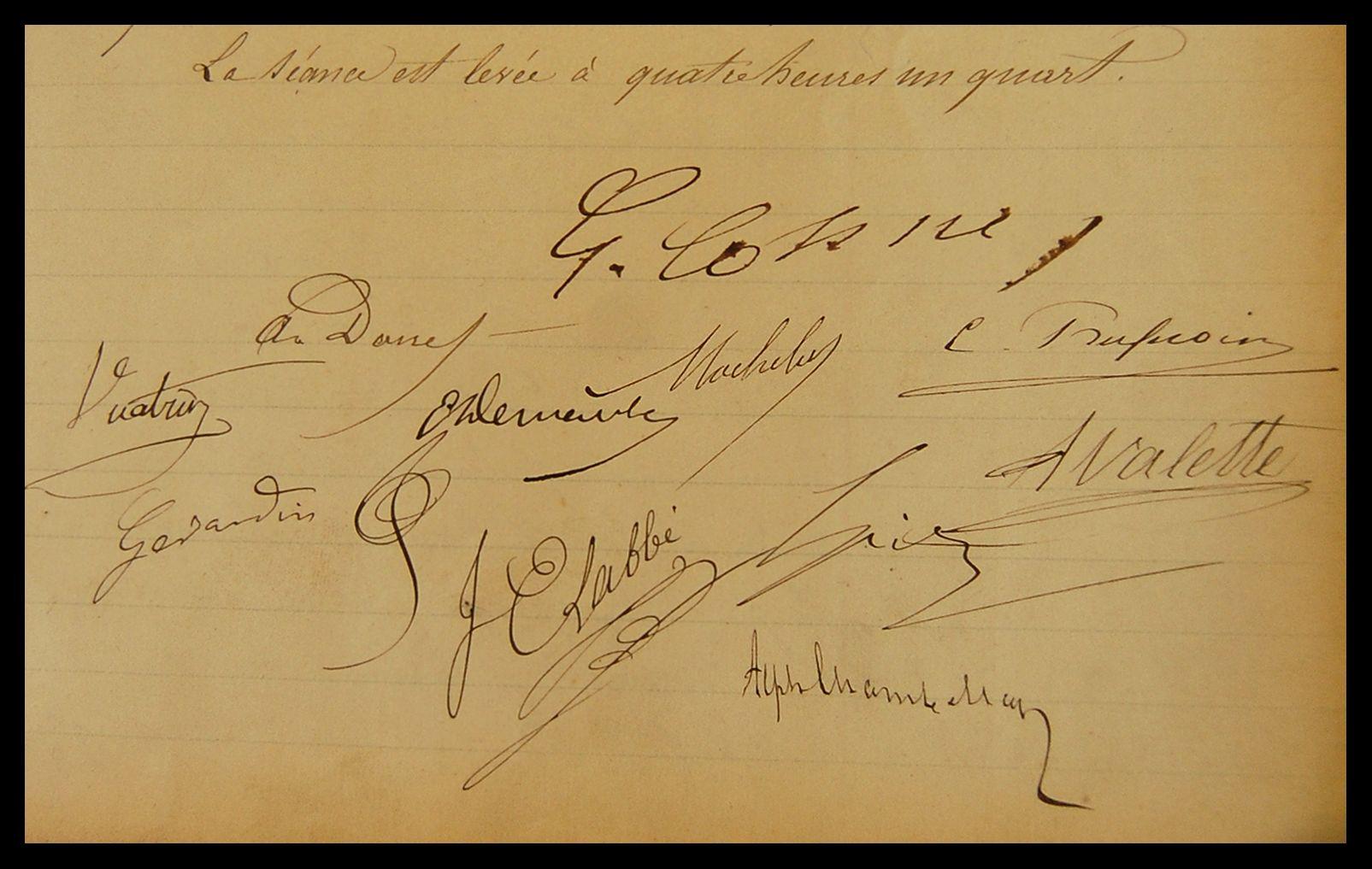 Signatures des professeurs, Conseil de la Faculté du 1<sup>er</sup> mars 1877