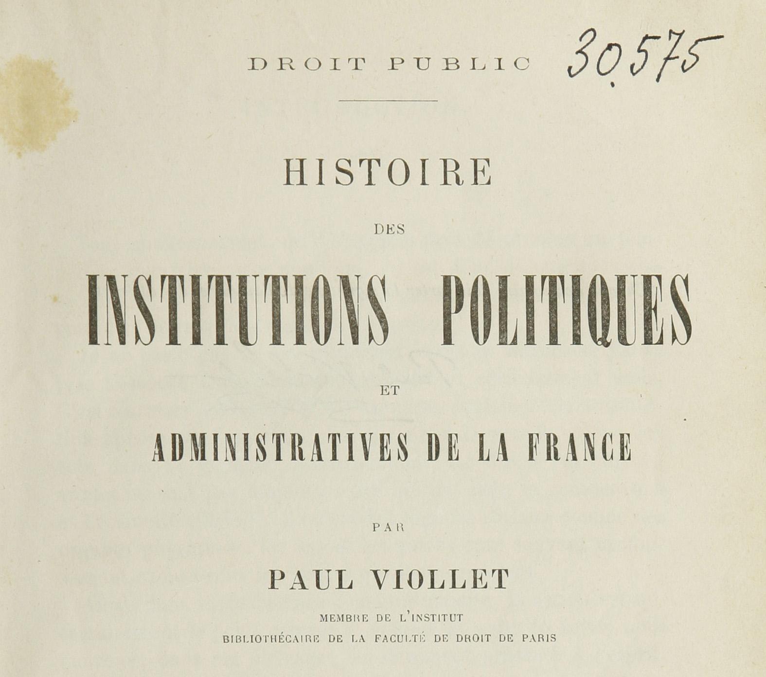 Les manuels d'histoire du droit de Paul Viollet